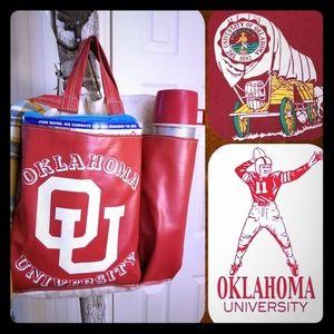 OU University of Oklahoma vintage ballgame tote